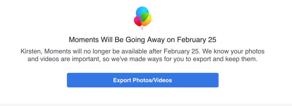 Facebook Announces the Retirement of The Moments Photo